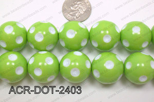 Acrylic Dotted Round  Green 24mm ACR-DOT-2403