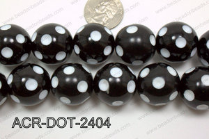 Acrylic Dotted Round  Black 24mm ACR-DOT-2404