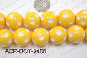 Acrylic Dotted Round  Yellow 24mm ACR-DOT-2405