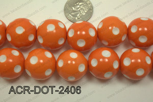 Acrylic Dotted Round  Orange 24mm ACR-DOT-2406