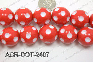 Acrylic Dotted Round  Red 24mm ACR-DOT-2407