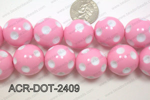 Acrylic Dotted Round  Light Pink 24mm ACR-DOT-2409