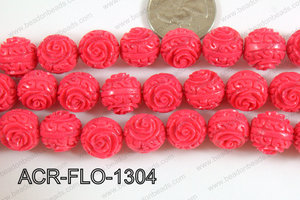 Acrylic Flower carved Round 11mm Dark pink ACR-FLO-1304