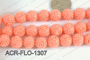 Acrylic Flower carved Round 11mm light pink ACR-FLO-1307