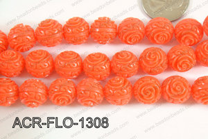 Acrylic Flower carved Round 11mm Orange ACR-FLO-1308