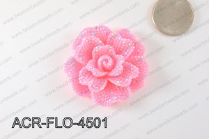 Acrylic Rhinestone Flower Pendant Light Pink 45mm ACR-FLO-4501