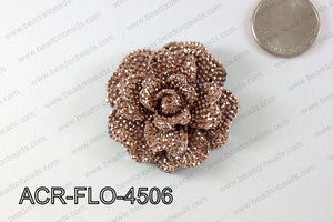 Acrylic Rhinestone Flower Pendant Metallic Brown 45mm ACR-FLO-45