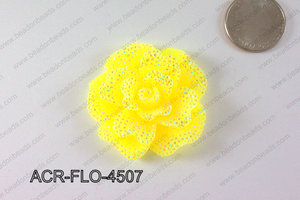Acrylic Rhinestone Flower Pendant Yellow 45mm ACR-FLO-4507