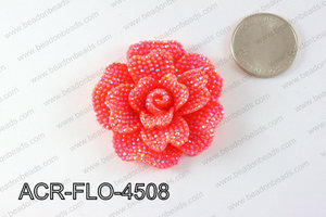 Acrylic Rhinestone Flower Pendant Red 45mm ACR-FLO-4508