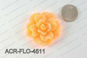 Acrylic Rhinestone Flower Pendant Orange 45mm ACR-FLO-4511