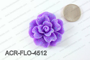 Acrylic Rhinestone Flower Pendant Purple 45mm ACR-FLO-4512