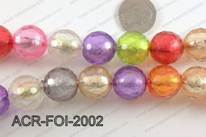 Acrylic Foil Faceted Round Multicolor 20mm ACR-FOI-2002