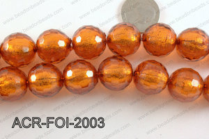 Acrylic Foil Faceted Round Brown 20mm ACR-FOI-2003