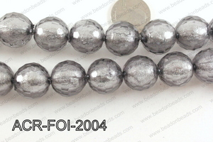 Acrylic Foil Faceted Round Gun Metal 20mm ACR-FOI-2004