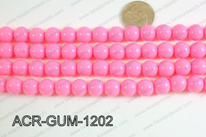 Acrylic Gumball beads light pink 12mm ACR-GUM-1202