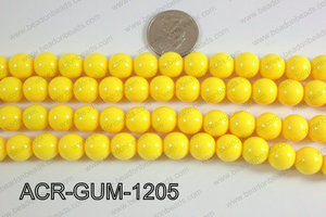 Acrylic Gumball beads yellow 12mm ACR-GUM-1205