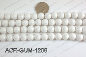Acrylic Gumball beads  white 12mm ACR-GUM-1208