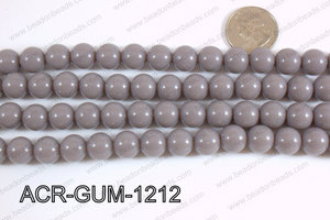Acrylic Gumball beads grey 12mm ACR-GUM-1212