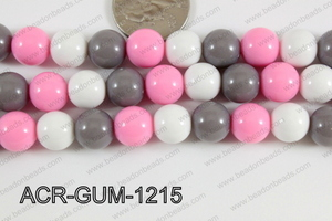 Acrylic Gumball 12mm white/grey/pink ACR-GUM-1215