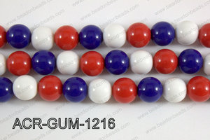 Acrylic Gumball 12mm blue/red/white ACR-GUM-1216