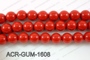 Acrylic Gum ball round red 16mm ACR-GUM-1608