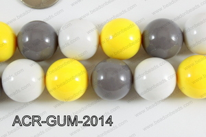 Acrylic Gumball 20mm white/yellow/grey ACR-GUM-2014