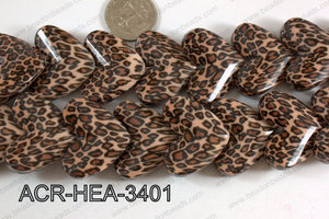 Acrylic Heart Brown 34x26mm ACR-HEA-3401
