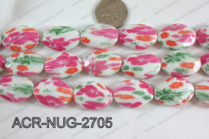 Acrylic Nugget flat faceted 20x27mm pink ACR-NUG-2705