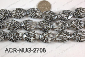 Acrylic Nugget flat faceted 20x27mm black/white ACR-NUG-2706