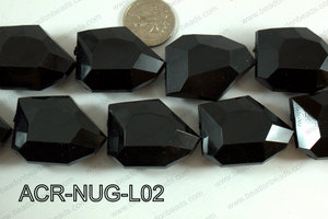 Acrylic Nugget Black 38x30mm ACR-NUG-L01