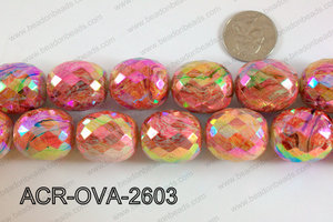 Acrylic Oval faceted 22x26mm red ACR-OVA-2603