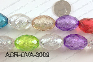 Acrylic Foil Faceted Multicolor Oval 20x30mm ACR-OVA-3009