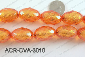 Acrylic Foil Faceted Oval Orange 20x30mm ACR-OVA-3010