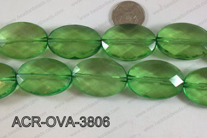 Acrylic Oval faceted 26x38mm green ACR-OVA-3806