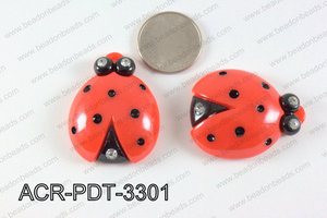 Acrylic Pendant Ladybird Red 42x33mm ACR-PDT-3301