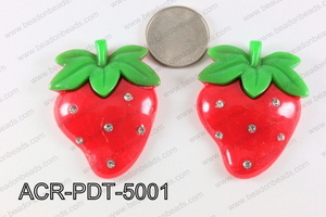 Acrylic Pendant Strawberry Red 50x40mm ACR-PDT-5001