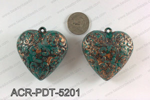 Acrylic heart pendant with turquoise vintage paint 50X52mm ACR-P