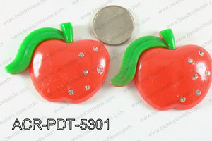 Acrylic Pendant Apple Red 53x45mm ACR-PDT-5301