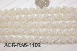 Acrylic Raspberry round White 11mm ACR-RAS-1102