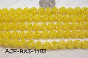 Acrylic Raspberry round Yellow 11mm ACR-RAS-1103