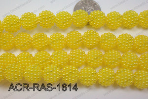 Acrylic Raspberry round Yellow 14mm ACR-RAS-1614