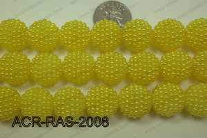 Acrylic Raspberry round Yellow 18mm ACR-RAS-2008
