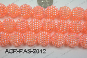 Acrylic Raspberry round Peach 18mm ACR-RAS-2012
