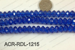 Acrylic Rondelle faceted 12mm dark blue  ACR-RDL-1215