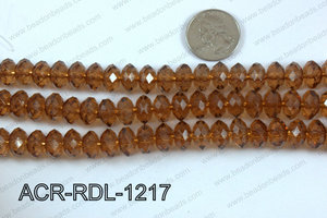 Acrylic Rondelle faceted 12mm brown  ACR-RDL-1217