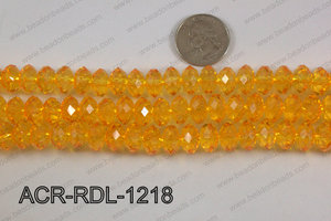 Acrylic Rondelle faceted 12mm yellow  ACR-RDL-1218
