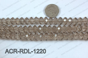 Acrylic Rondelle faceted 12mm grey  ACR-RDL-1220