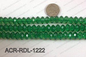 Acrylic Rondelle faceted 12mm green  ACR-RDL-1222