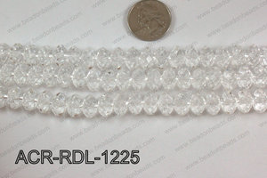 Acrylic Rondelle faceted 12mm clear  ACR-RDL-1225