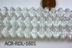 Acrylic Bead Faceted Rondel 16mm Clear 13'' ACR-RDL-1601